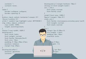 A drawing of a programmer trying to create a multilingual WordPress site.