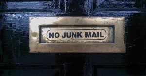 No junk mail sign on the door.