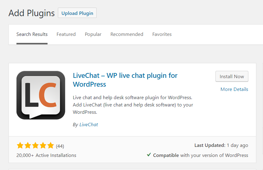 LiveChat plugin in WP