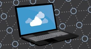 A sketch of cloud storage on a laptop.