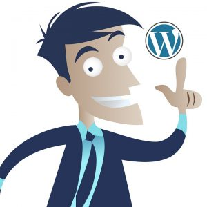 A sketch of a man pointing to a WordPress sign.