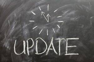 The word update written on a blackboard.