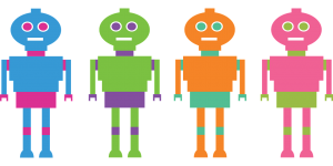 4 colorful bots.