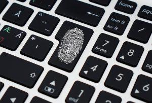A fingerprint on a keyboard.