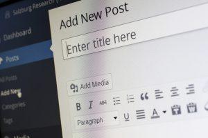 Entering title in WordPress.