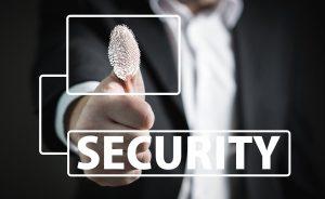 A fingerprint on a security sign.