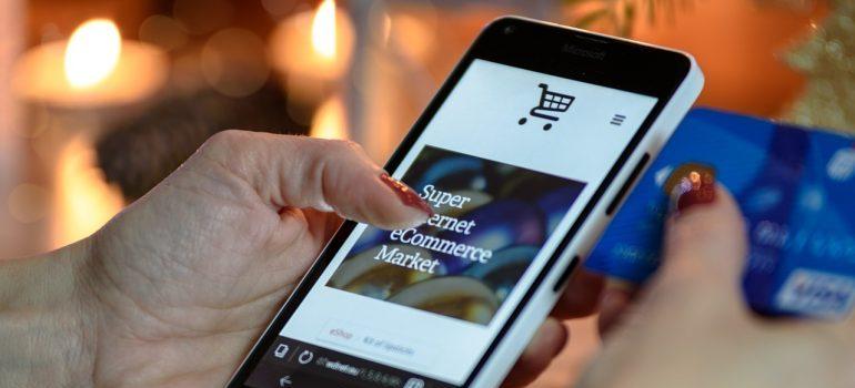 A woman shopping online.