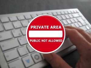 A sign that denotes a private area.