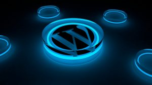 A glowing WordPress logo.