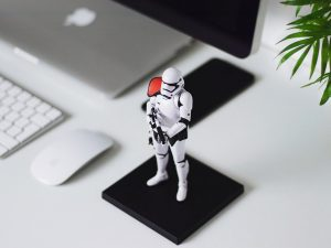 Storm trooper figurine.