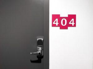 404 next to a locked door.
