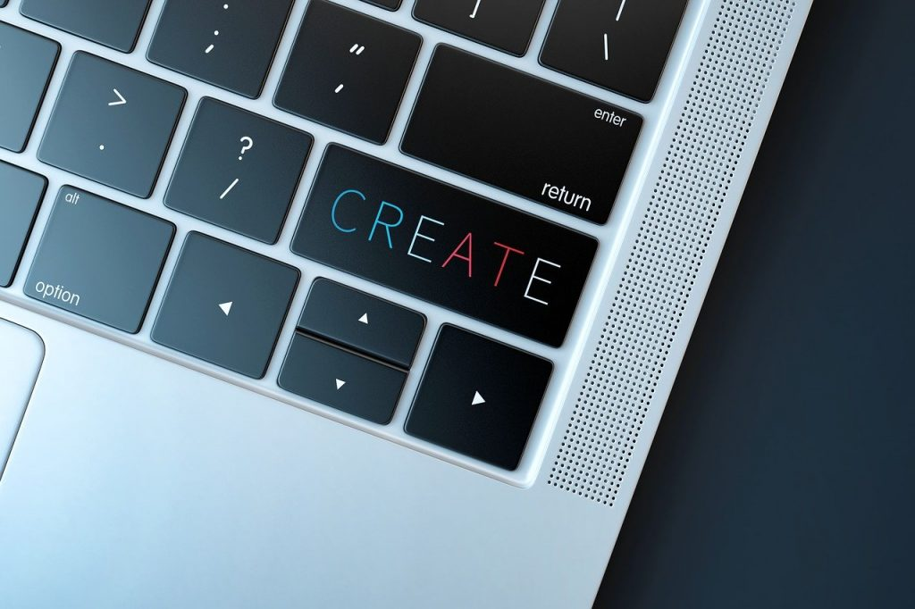 A Create button on a keyboard.