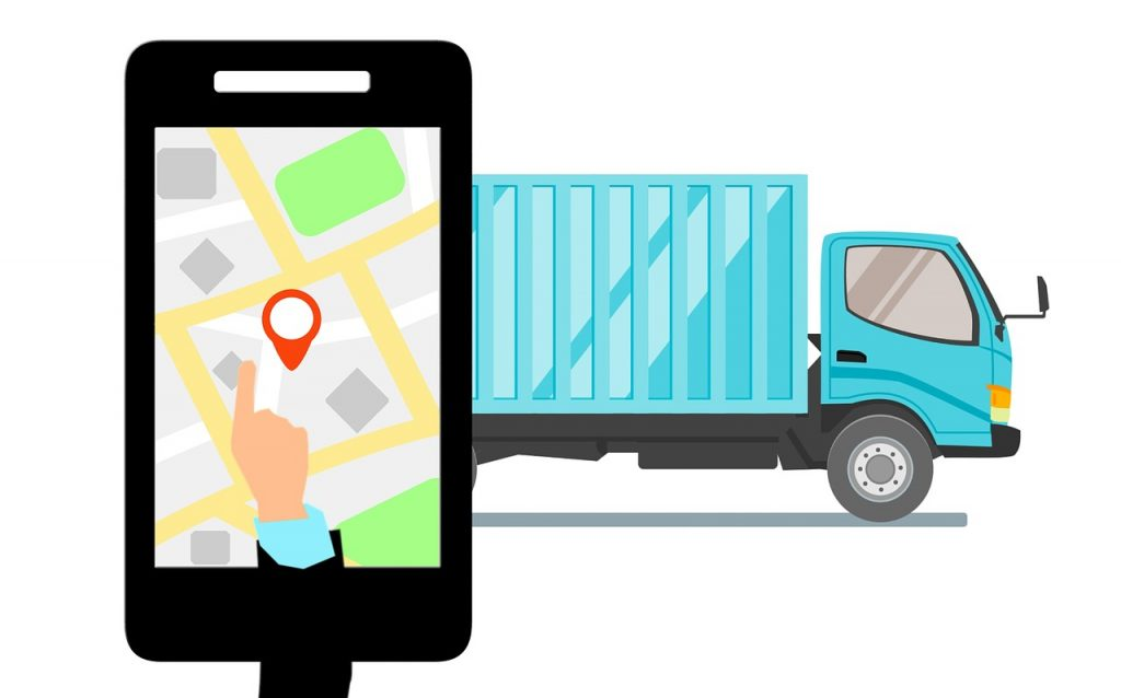 A phone tracking a truck.