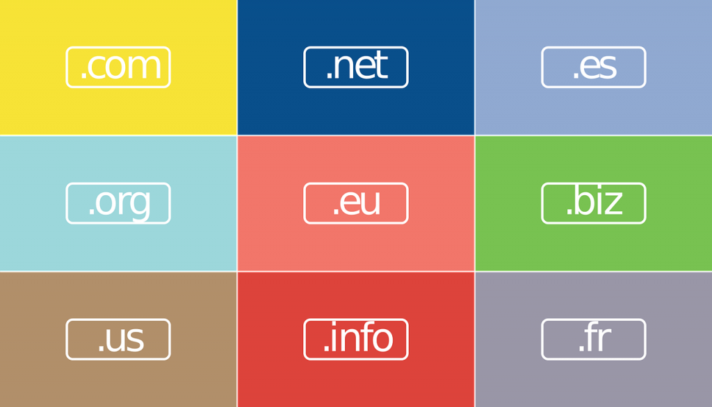 Famous website domains like .net .com and .org.