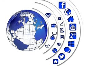 Globe surrounded with multiple icons representing various online options for running a website.