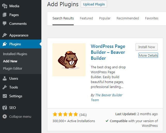 Beaver Builder plugin on a plugin page.