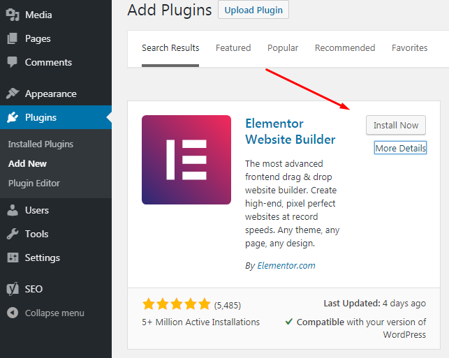A button to install the Elementor website builder on the plugin page to easy edit a WordPress homepage.