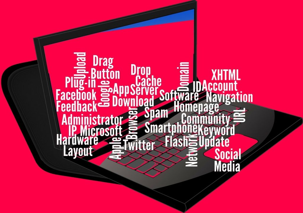 Various plugins and apps on a laptop.