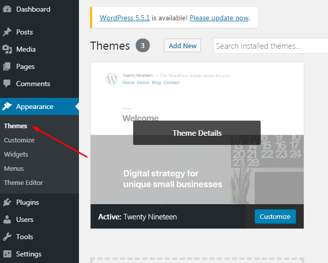 Themes Appearance tab in WP.