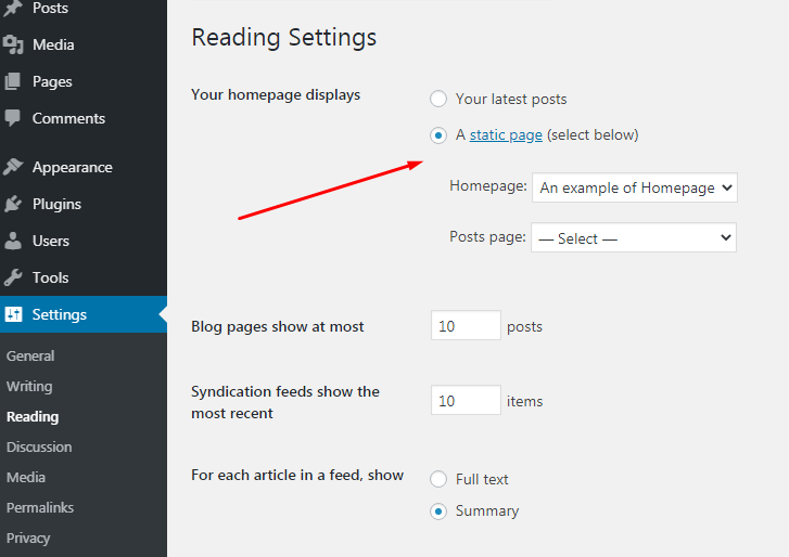 Reading settings in WP where you can set your homepage.