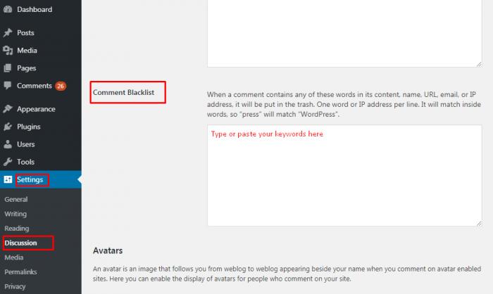 Comment Blacklist where you enter words.