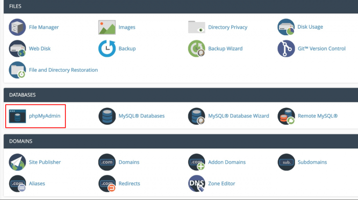 The phpMyAdmin icon in cPanel.