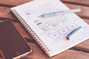 A design wireframe for a website.