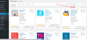 Plugin search results in WordPress when you search for plugins to organize media uploads by users.