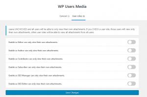 WP Users Media plugin settings screen.