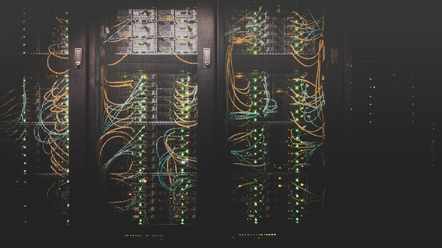 Hard drives in a server room.