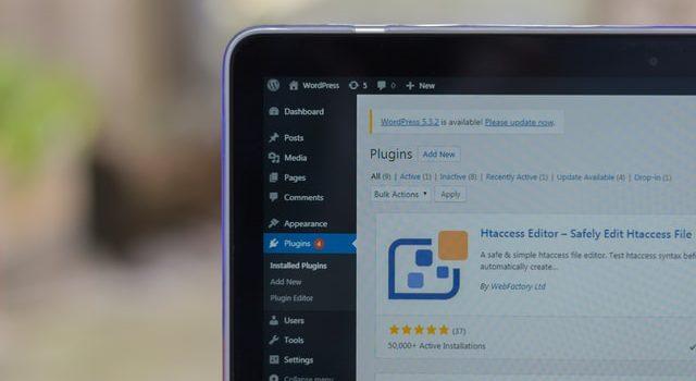 WordPress plugins page on a monitor.