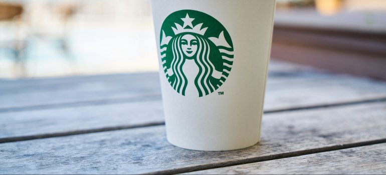 Starbuck logo on a cup.