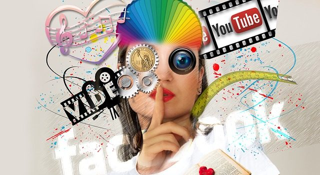 A woman surrounded by abstract representations of different types of media like the YouTube logo and musical notes.