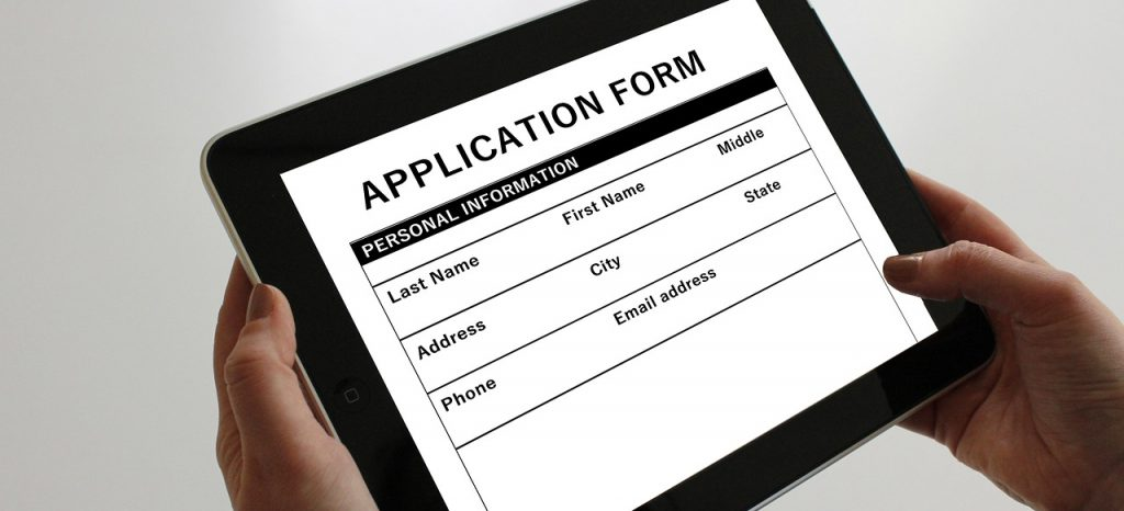 An online application form on a tablet.