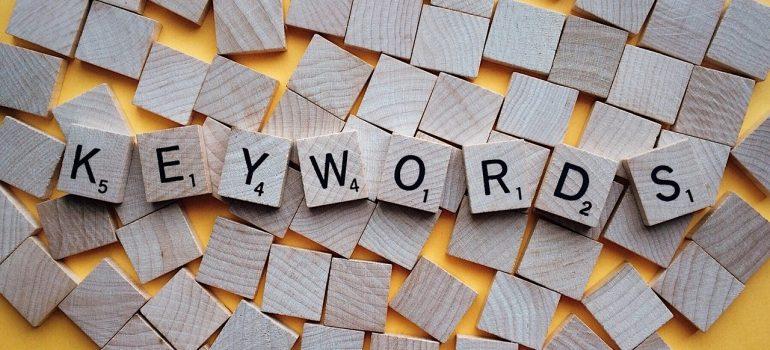 Keywords written in Scrabble letters.