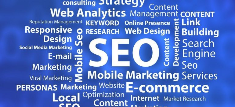SEO with different aspects of it written near it.