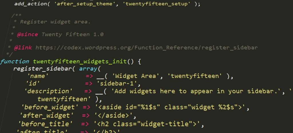 A part of JavaScript code for initializing theme widget.