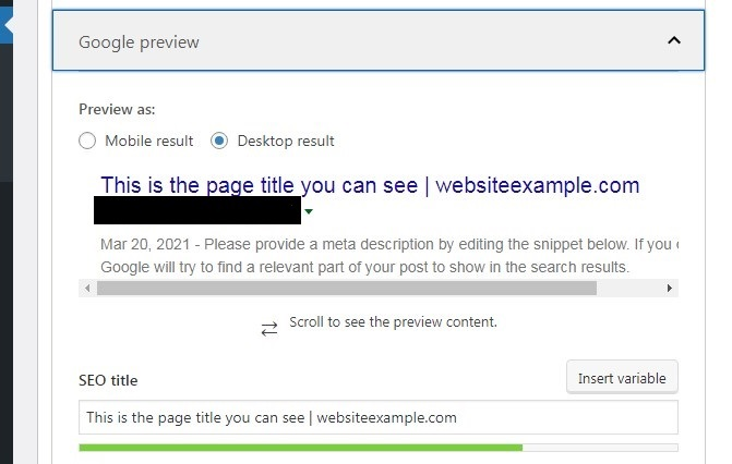 SEO title field with the preview of title for the desktop device in Yoast plugin.