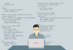 An illustration of a coder with CSS code in the background.