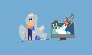 An illustration of a man with a electrical plugin staring at the rocket emerging from his WordPress website.