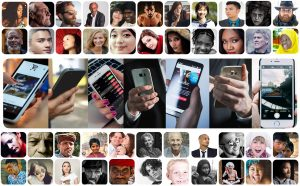 Five rows of images of people where everyone is holding a mobile device in the central row.