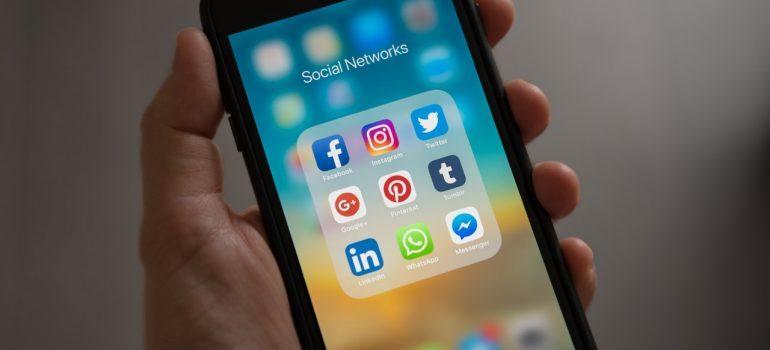 Smartphone displaying social media apps.