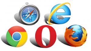 Logos of several major internet browsers.