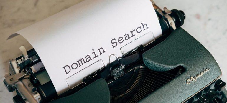 Domain search written on a writing machine.