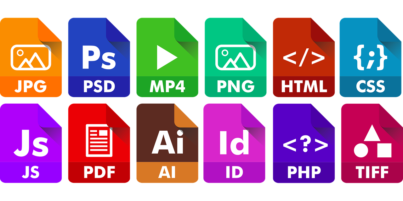 Different icons of file formats.