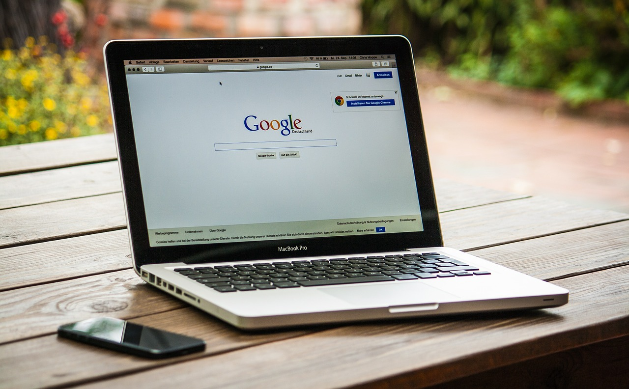 A laptop with Google search on.