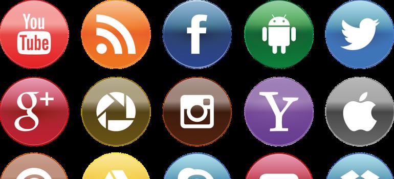 Various social media buttons.