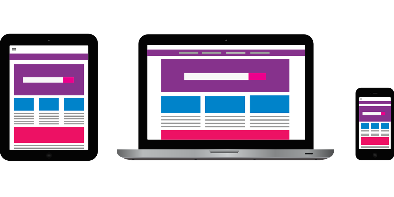 Navigation and other website elements on three different screen sizes.