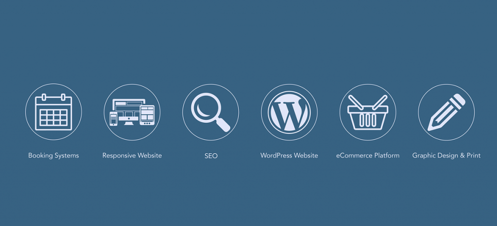 WordPress logo with various aspects of online presence.